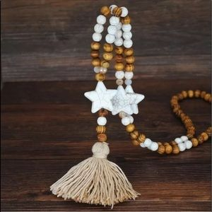 Boho Gypsy Chic Luxe Wooden Marble Tassel necklace